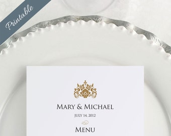 Gold Wedding Menus Dinner Menus Reception Menus Printables