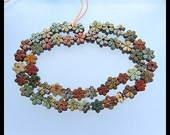 Carved Multi-Color Picasso Jasper Gemstone Flower Loose Beads,1 Strand,40cm in the Lenght,23.9g
