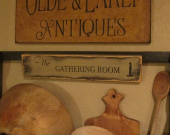 olde and early antiques sign- primitive tavern, colonial sign