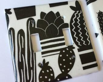 Succulent Decor / Cactus Light Switch Plate / Succulent Switch Plate / Succulent Gift / Cactus Gift / Gardening Gift / Black White Decor
