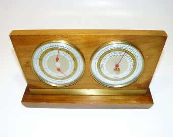 Vintage Barometer - Humidity - Temperature - Weather Station - Taylor – Retro Atomic Ranch - Stormoguide - Walnut and Brass