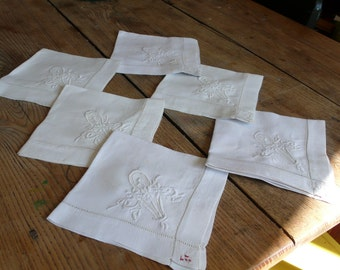 Antique Linen Napkins, Monogrammed D, Cloth table napkin set, Antique set of 6, 1920-30s, handmade embroidered, French Monogram linen,