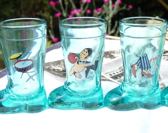 Five Shot Glass Boot Shaped - Blue - Vintage Shot Glass -  Souvenir Shot Glasses - Summer Finds - Glass w Colored Illustrations - SPT Team