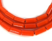 Orange Whitehearts Venetian Trade Beads Cylinder New 96918 SALE WAS 13