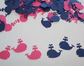 Gender reveal whale confetti, 100 navy blue and dark pink cardstock punches for party decorations, scrapbook embellishments