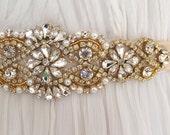Gold Crystal Bridal Sash. Rhinestone Applique Silver Wedding Belt. Bride Sash. VINTAGE MODE GOLD