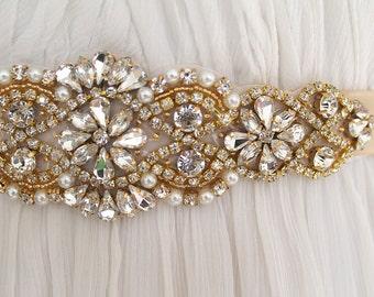 Gold Crystal Bridal Sash. Rose gold Rhinestone Wedding Belt. Applique Silver Bridal Sash. VINTAGE MODE GOLD