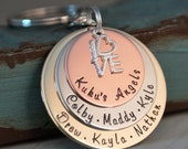Grandma / Grandpa Key chain - Personalized Hand stamped - A family with love keychain
