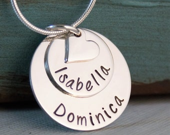 Mommy Necklace Stack of Two with heart / Personalized Jewelry / Hand Stamped Sterling Silver Necklace / Three names
