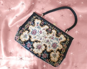 1950s Tapestry Purse - Vintage Handbag with Black Tapestry and Leather Accents and Mirror
