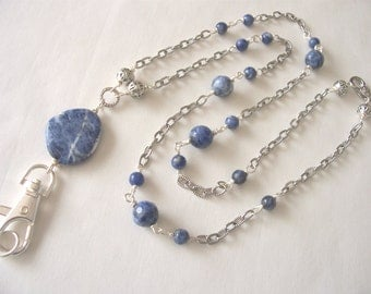 blue sodalite lanyard, blue lanyard, ID badge holder, ID chain, ID necklace, Spring 2017 fashion trends, office fashion  gift idea