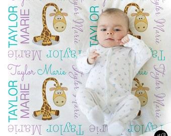 Giraffe Name Blanket, Girl personalized blanket, custom blanket for girl, baby blanket, personalized blanket, aqua / lilac or choose colors