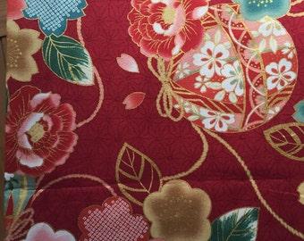 Flower Temari printed kimono design fabric one yard