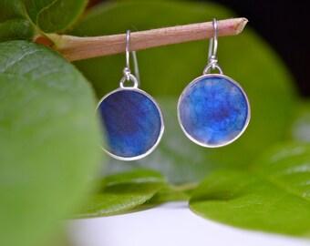 Bright blue resin drop earrings