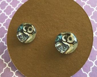 Owl Earrings, barn owl, woodland, titanium, hypoallergenic posts.