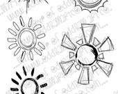 INSTANT DOWNLOAD Digi Stamp Set of 10 Suns with and without faces ~  Image No.313 & 313b  by Lizzy Love