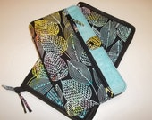 Deluxe Spill Proof Needlecase in Sassy Leaves with Blue for tips, circs and short dpns
