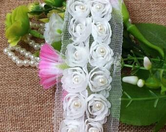 "10 meter 5cm 1.96"" wide ivory rose chiffon beads tapes lace trim ribbon 43133 free ship"