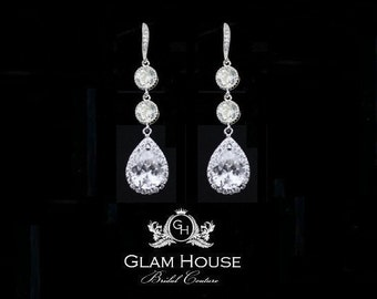 Bridal Earrings, Bridal jewelry, Cubic zirconia  Earrings, Tear drop earrings