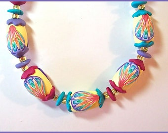"""Polymer Clay Yellow Handcrafted Bead Necklace with Multicolor iKandi Clay Canes & Purple Turquoise Magenta Accents 23"""""""