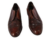 Vintage Men's Wingtip Leather Shoes Cherry Brown Size 9.5 US