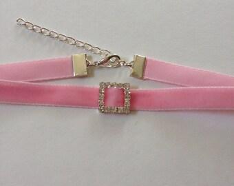 Light Pink Slim Velvet Choker with Rhinestone Charm
