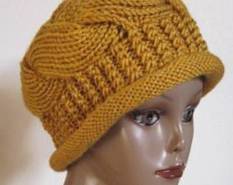 knit pattern-No15-stylish cable hat for adult. ( new improved)