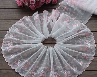 2.88 Yards Lace Trim Floral Embroidered Light Pink Tulle Lace 7.48 Inches Wide High Quality