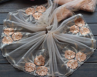 2 Yards Lace Trim Floral Embroidered Peachy Pink Tulle Lace 9 Inches Wide High Quality