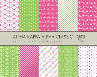 Alpha Kappa Alpha Digital Paper // Sorority Digital Paper // Ivy Paper // Green Pink Paper //  Alpha Kappa Alpha Scrapbook // Digital Paper