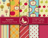 50% off Apples Paper Pack - 10 Digital papers - 12 x12 - 300 DPI