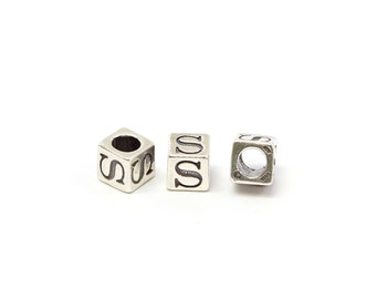 Alphabet Beads Sterling Silver 4mm Alphabet Blocks S - 1pc (3186)