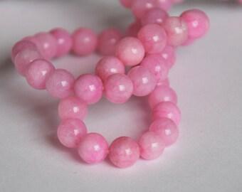 Half Strand 6mm Rose Dark Pink Color Jade Beads - 32 Beads