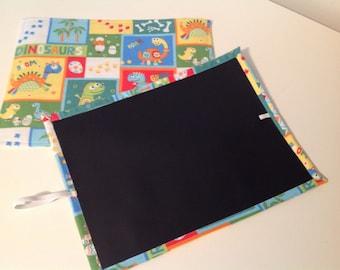 "Travel Kid's CHALKBOARD MAT -Dinosaur --Quiet Toy--Brand New...Handmade  9""X12"""