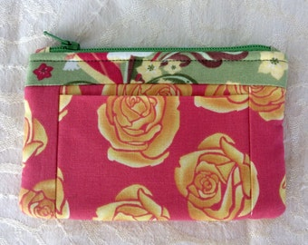 Wallet Coin Purse Card Holder Yellow Pink Rose Floral