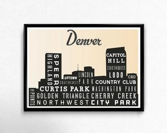 DENVER Typographic Skyline Print, Typography Poster, Retro Wall Art,  Modern Home Decor, Wall Art, Holiday Gift