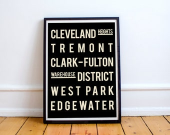 Cleveland Art Print, Typography Poster, Black and White, Wedding Gift, Home Decor, Anniversary Present