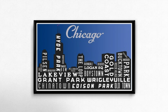 Skyline Poster, Chicago Print, Typography Poster, City Map, Gift, Travel Art, Vintage Look, Chicago Art Poster, Wall Art, Decor