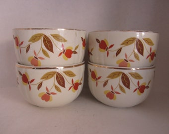 Vintage Hall Autumn Custard Cups Leaf Lot of Four 4