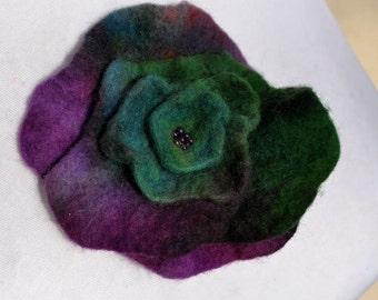 Felt flower, brooch, flower, purple, green,  beads