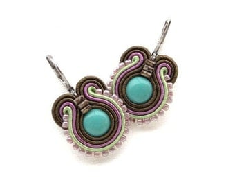 Teal Earrings Teal Drop Earrings Soutache Earrings Brown Dangle Earrings Small Drop Earrings Teal and Brown Earrings Teal and Purple Earring