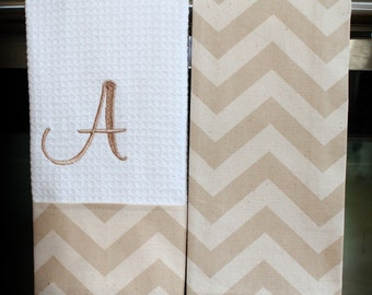 Chevron Kitchen Towels or Hand Towels in Khaki/Natural Chevron