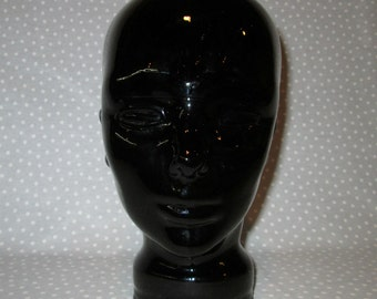 PRICE DROP! Black Glass Head Mannequin Display Molded Glass Man Woman Stand (B)