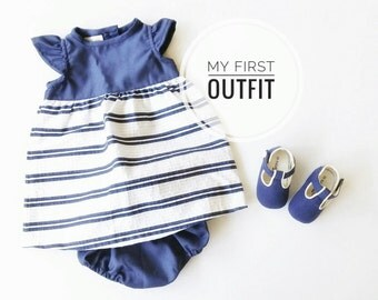 Baby Girl Outfit, Baby girl dress and diaper cover set, Blue and white stripes dress for little girls, New Baby Gift set