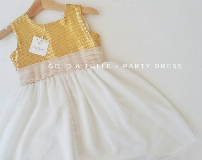 Gold Party Dress For Girls, Tutu dress for Little girls, Toddler party dresses, Christmas Gold Dress for Baby and Toddler
