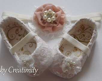Lace Flower Girl Shoes Baby Shoes Christening Shoes Baptism Shoes Ballet Shoes Bridal Flats Wedding Shoes Wedding Flats Baby Shower