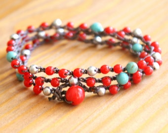 Red, silver, Turquoise bohemian crochet wrap bracelet, necklace, boho chic, beach jewelry, gift idea, one of a kind by OlenaDesigns