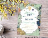 Adventure awaits baby shower invitation gender neutral reveal map rustic chic hot air balloons burlap sip see world mint 1466 diaper world
