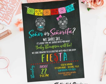 gender reveal fiesta invitation gender neutral Mexican sugar skull senor senorita baby shower sprinkle Papel Picado cinco de mayo item 1460