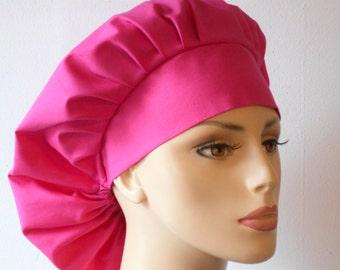 Bouffant Surgical Scrub Hat -Hot  Pink Solid Kona 100% Cotton Matching Headband Breast Cancer Awareness